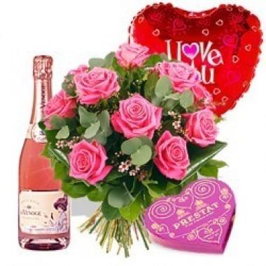 12 rosas, vino, chocolates y globo