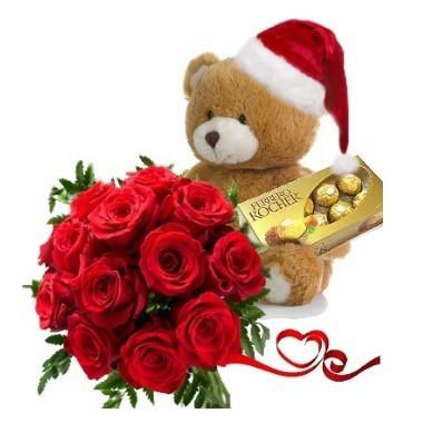 Oso navideño con rosas
