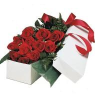 Caja con doce rosas