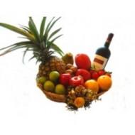 Canasta con frutas y vino a Ecuador