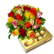 Bouquet de 24 rosas mix y chocolates