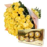 Bouquet de 30 rosas y chocolates