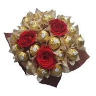 Choco-bouquet con rosas preservadas